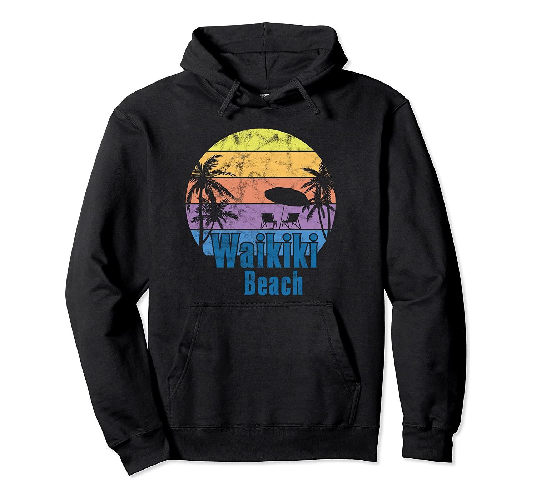 Waikiki Oahu Hawaii Retro Sunset Aile Beach Tatil Kazak Hoodie Unisex Renk Siyah / Gri / Lacivert / Kraliyet Mavi / Koyu Heather ile Boyut S-5XL