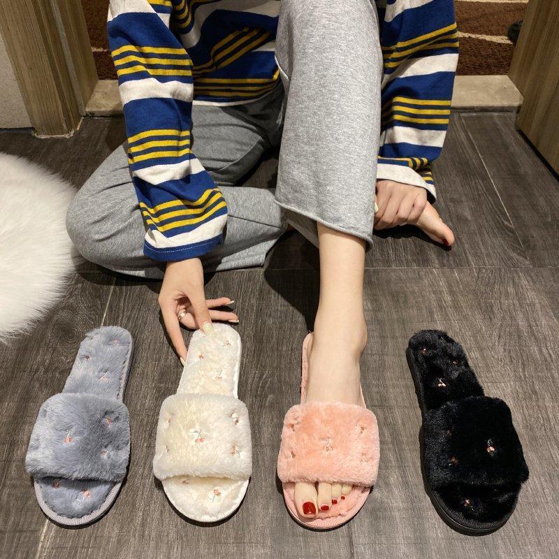 Noworry Donne Pantofole Shoes Winter Shoes Flat Sweet Home Pantofole da donna Pelliccia da interno Pelliccia calda Soft Slip Soft Slip Black Rosa Grigio Femmina Slipper