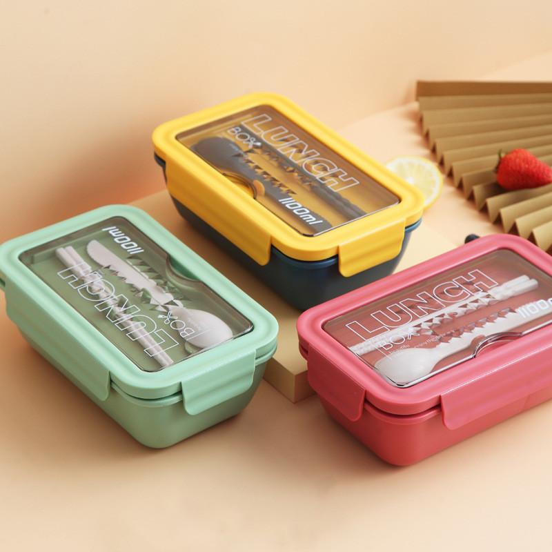 1100ml de almoço de palha de trigo caixa de vazamento material saudável Bento caixas de bento com colher micro-ondas de armazenamento de alimentos recipientes de recipiente Y0120