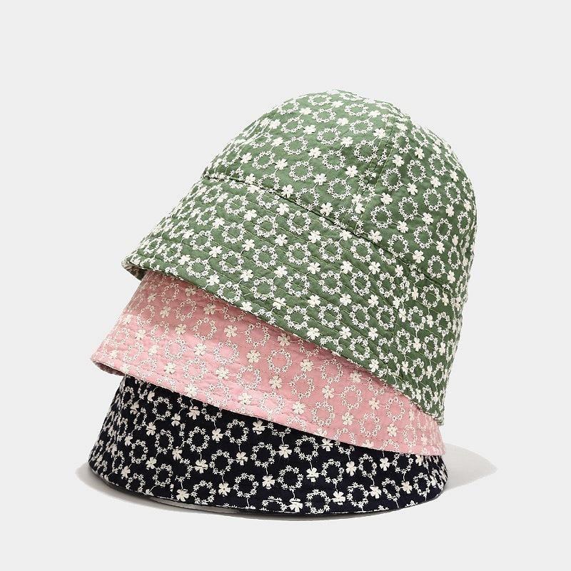 Широкие Breim Hats 2021 Весенние Женщины Хлопок Ведр Шляпа Летняя Солнцезащитный крем Солнцезащитные Маленькие ромашки Цветочные Рыбалка Леди Рыбак для Девочки Z-4841