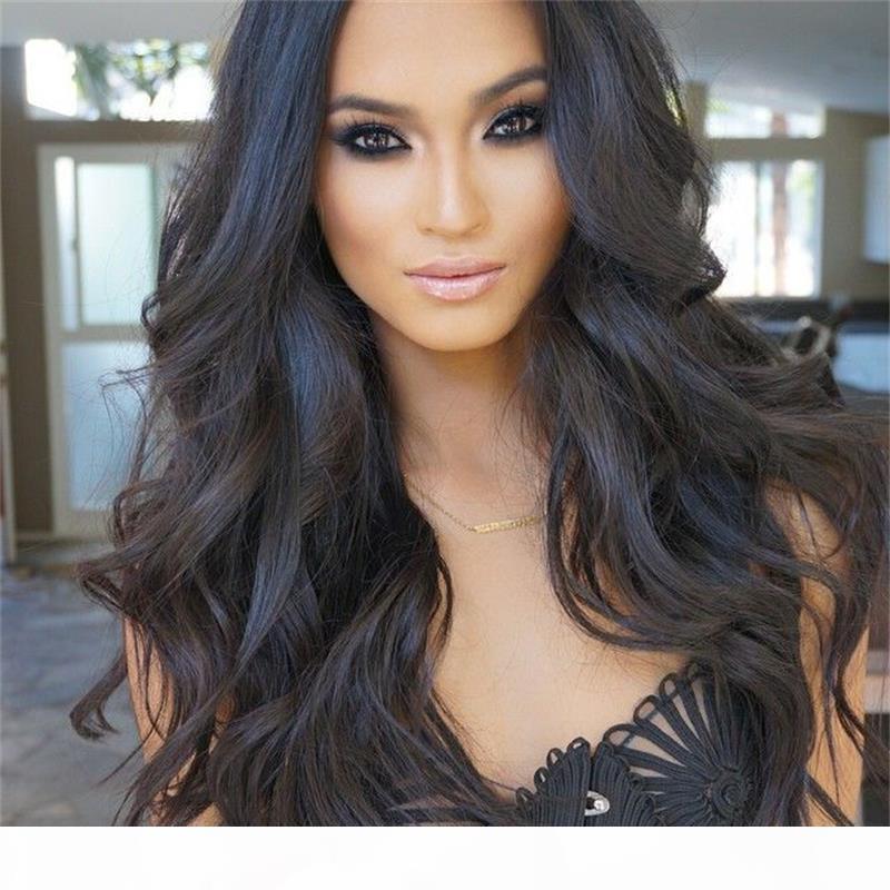 % 150% 180 Yoğunluk Vücut Dalga Bakire İnsan Saç Peruk Tutkalsız Tam Dantel Peruk Dalgalı Doğal Renk # 1B Dantel Açık Peruk İçin Siyah Kadın