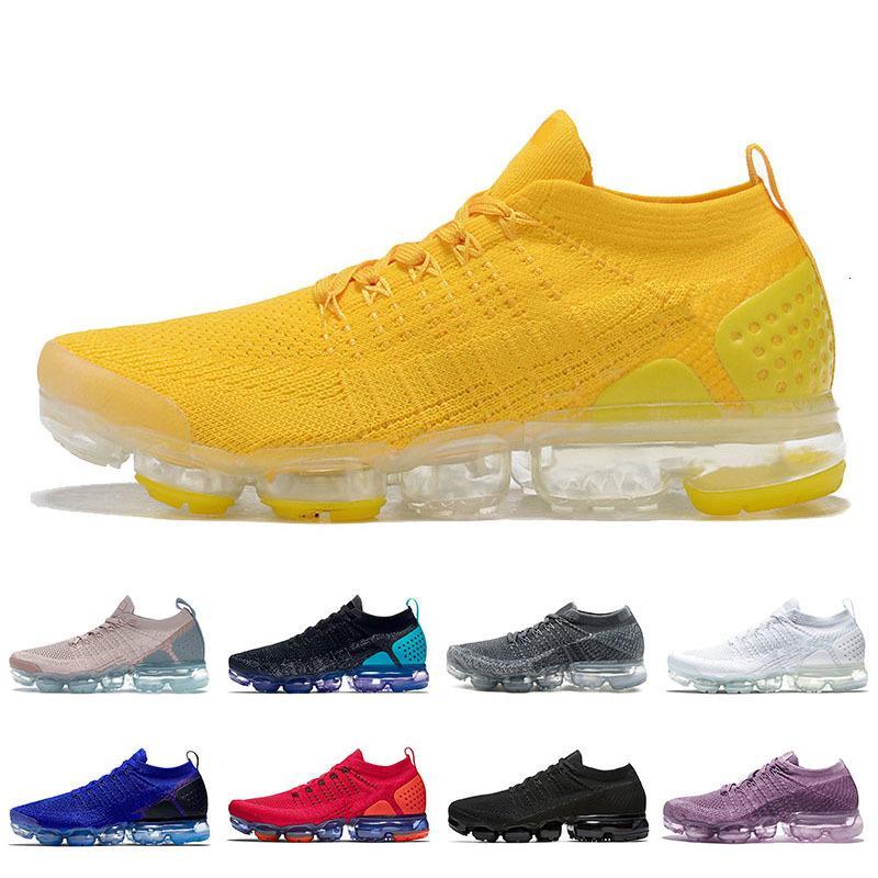 Ücretsiz Parlak Sarı Moda Minder Erkekler Kadınlar Fly Ayakkabı Örgü Siyah Beyaz Sıcak Yumruk Mor İş Mavi Racer Sneakers Eğitmenler