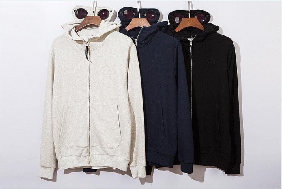 Männer und Frauen neuer C.P. Brief Stickerei Strickjacke Reißverschluss Brille Anzug mit Kapuze Langarm-Baumwoll-Pullover Jacke freies Verschiffen