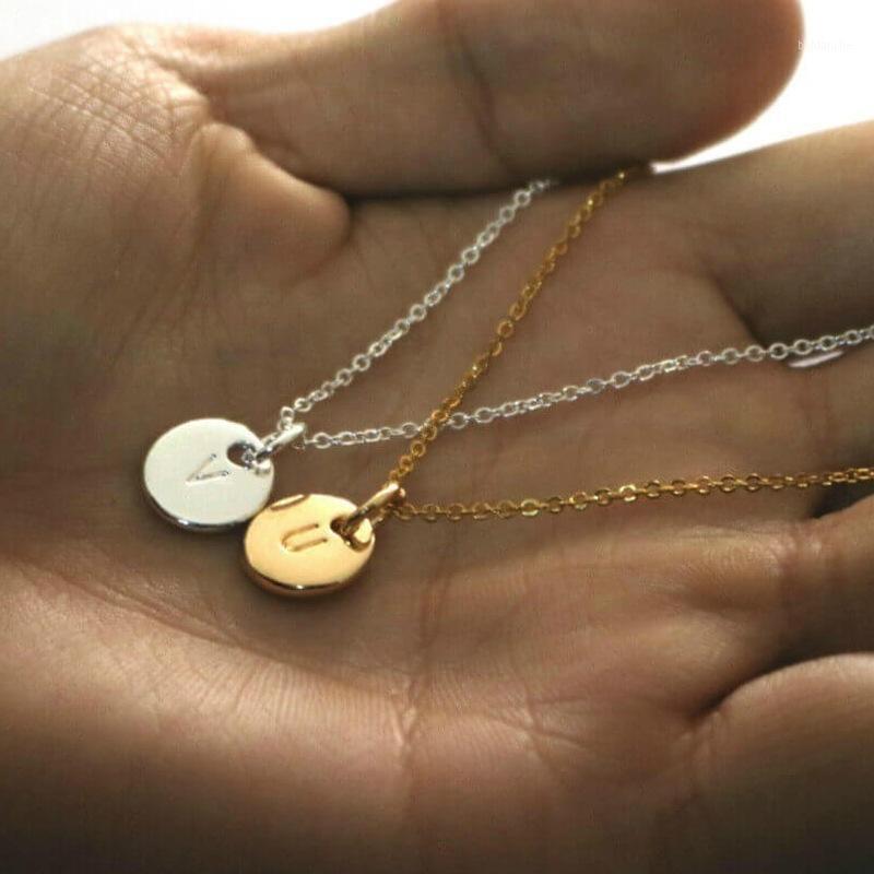 Ciondolo collane alfabeto disco lettera coppia doppia lato A-Z iniziale timbrato nome catena collana Amante Gift1