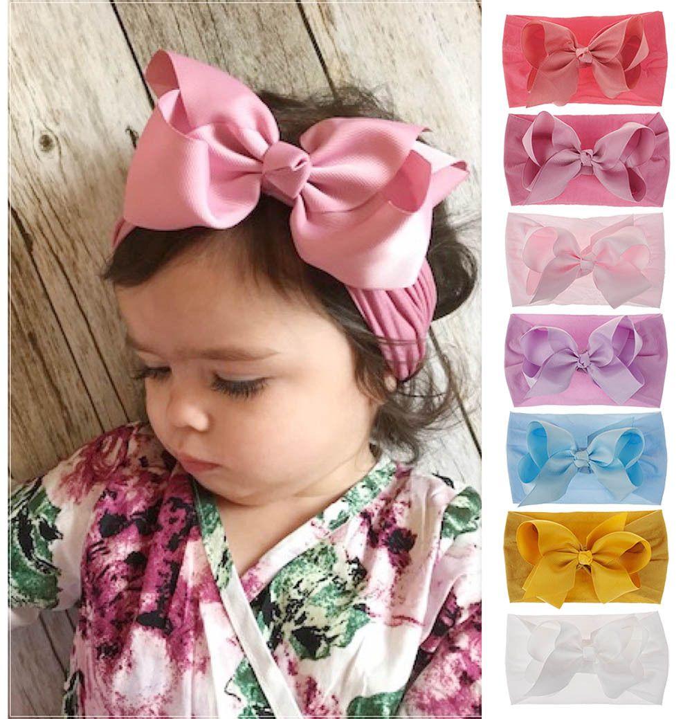 Bowknot grande para bebé suave de nylon banda se dirige pelo de la muchacha turbante cumpleaños de los niños Fantasía diadema recién nacido niño niños rojos del bebé Envolturas de 18 colores