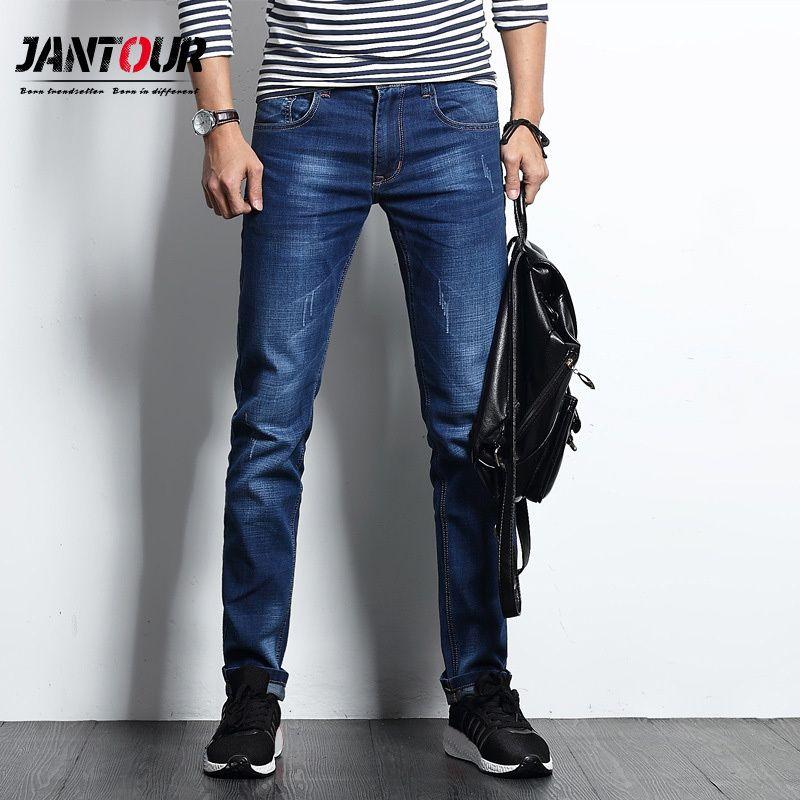 jantour Erkek Fit İnce Jeans Tasarımcı Düğmeler Stretch Denim uzun Pantolon Sıska Erkekler moda Casual Biker Motorlu Erkek Pantolon C1018 Cepler