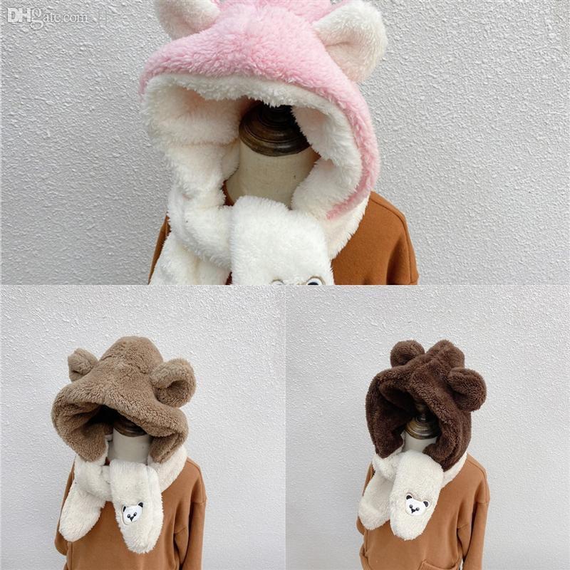 5U39A Kaschmir Frauen polychromatische QuastenScarf Mode Plaid Winter Tücher Ohrschutz Kappe Wraps Halten Warme Kinderhut Shiny Bär
