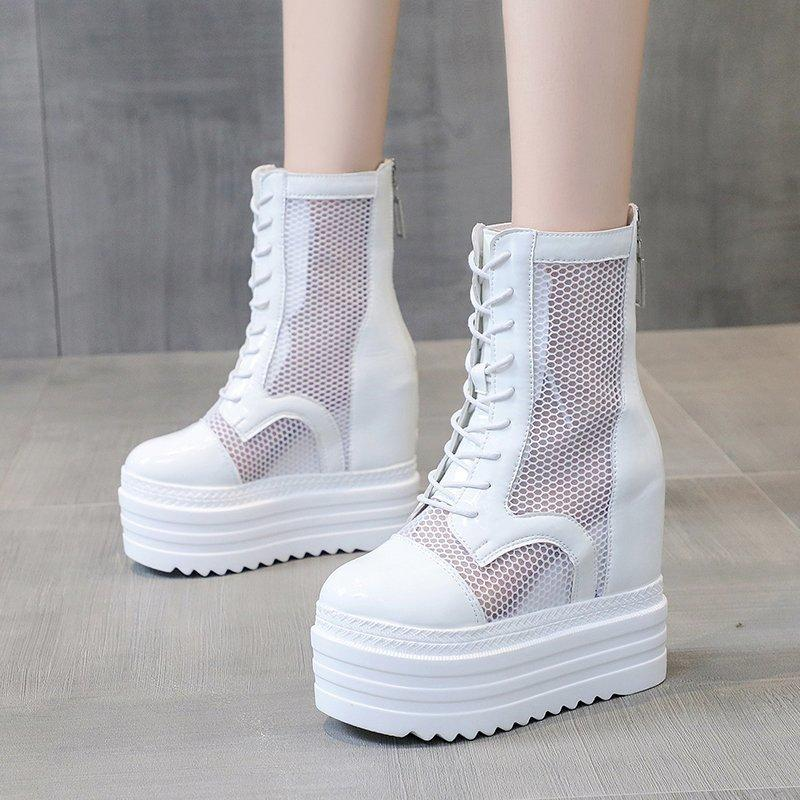 White Hollow Out Mesh Chunky Women 2020 Thick High Platform Mid Calf Boots Woman Lace Up Hidden Heels