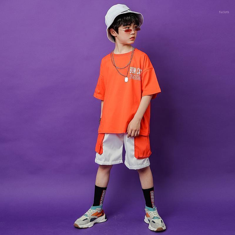 Niños Hip Hop Ropa para niñas niños sueltos camiseta pantalones cortos pantalones cortos niños jazz trajes de baile baile de baile ropa para niños Trajes para niños1