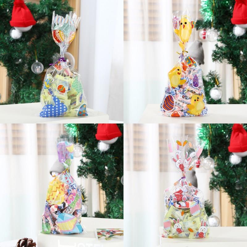 OPP Flat Mouth Packing Bag Rabbit Chick Radish Colored Eggs Pattern Transparent Packaging Bags Easter 50 Pcs In A Pack 3 75xx J2