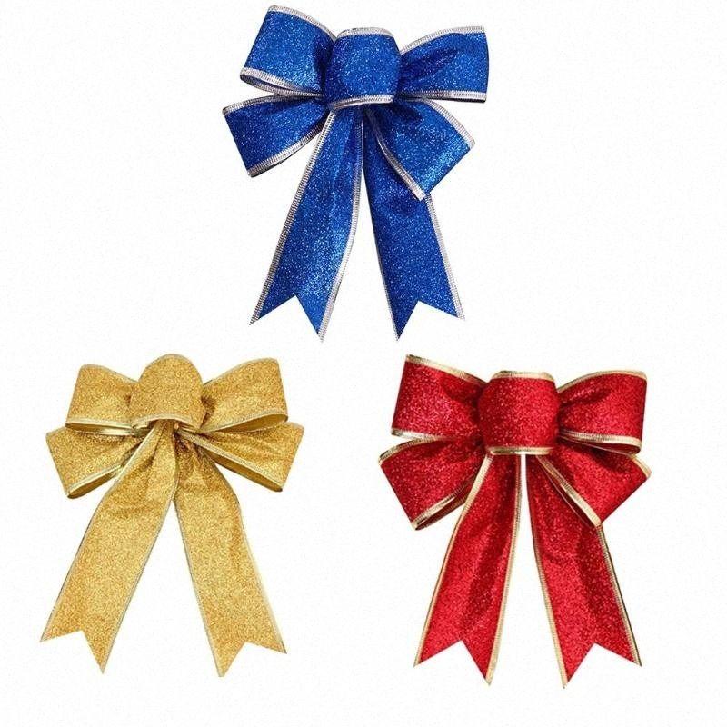 Árvore de Natal 4pcs Natal bowknot Decoração de Natal do ornamento do ouro azul bowknot Red suspensão do Natal Decoração Para Casa szg9 #