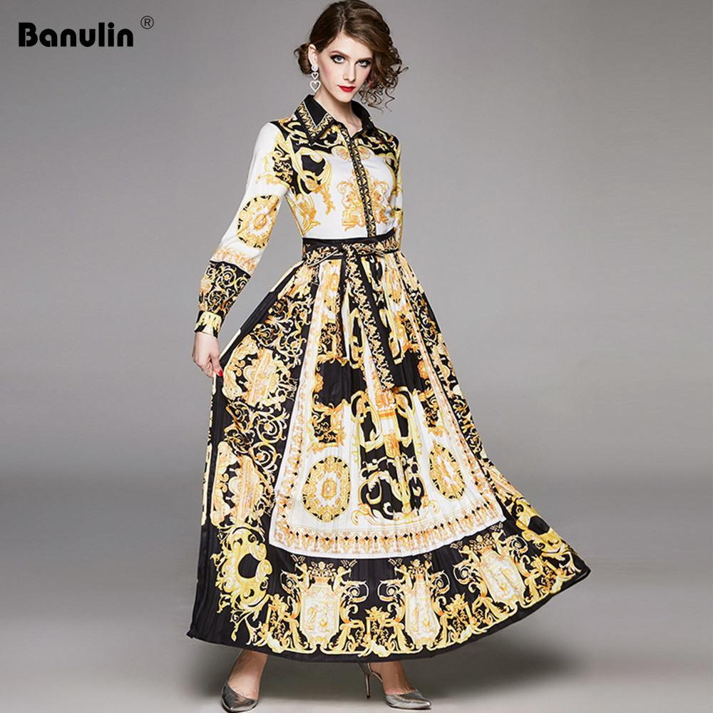 Banulin Pist Tasarımcısı kadın Maxi Elbise Bahar Vintage Barok Çiçek Baskı Puf Kol Kanatlar Pileli Gömlek Elbise 201204
