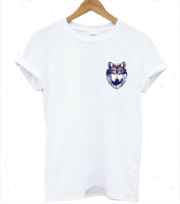 Harajuku Wolf Head Pocket Pocket Print Femme T-shirt Coton Casual Chemise drôle pour Lady Top Tee Hipster Drop Ship t 211