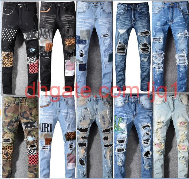 Hohe Qualität Herrenjeans Distressed Elastizität Jeans Stickerei Slim Ripping Loch Streifen Berühmte Denim Männer Hosen Jeans Große Größe 28-40