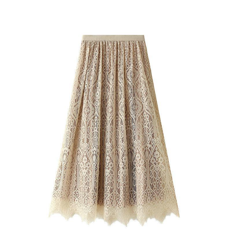 2020 Autumn Winter New High-waisted Slim Fashion Double-sided Lace Pleated Skirt Casual All-match Women Long Skirt Free Shipping