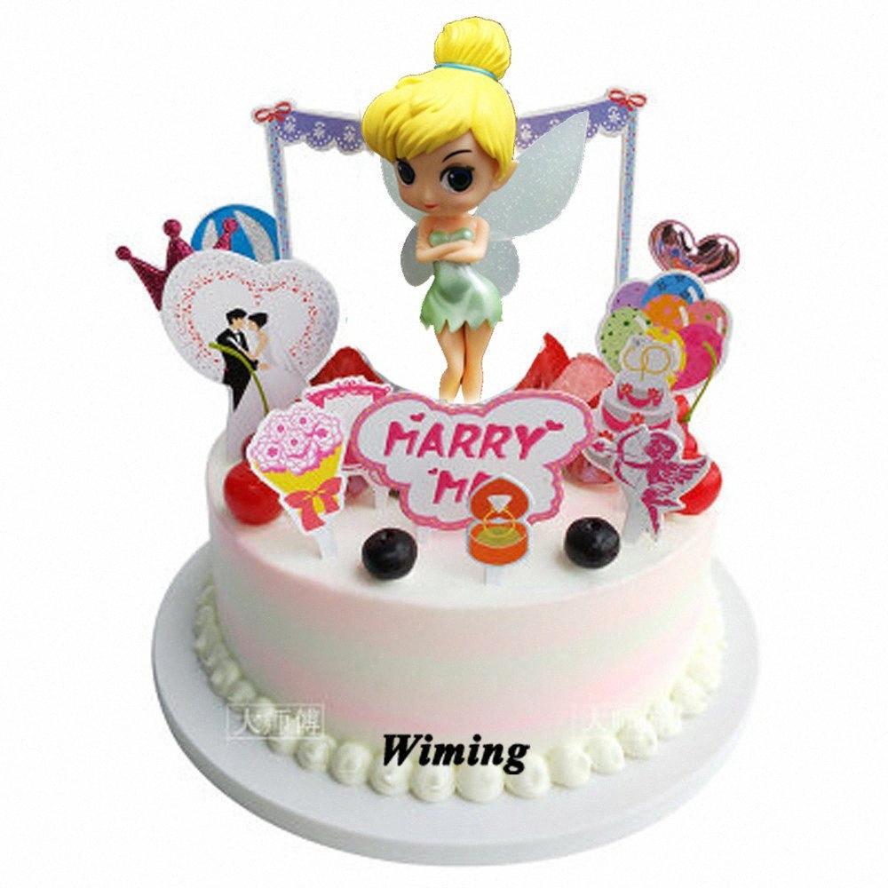 gâteau cadeaux anniversaire Topper femmes fille fournitures décoration fête enfants filles gâteau jouets décoration petit gâteau volant fée surmatelas yMhY #