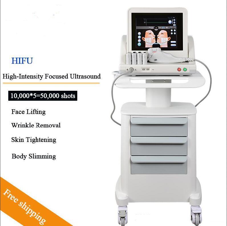 HIFU كثافة عالية تركز الموجات فوق الصوتية ليفت HIFU الوجه إزالة آلة التجعيد مع 5 رؤساء للوجه والجسم