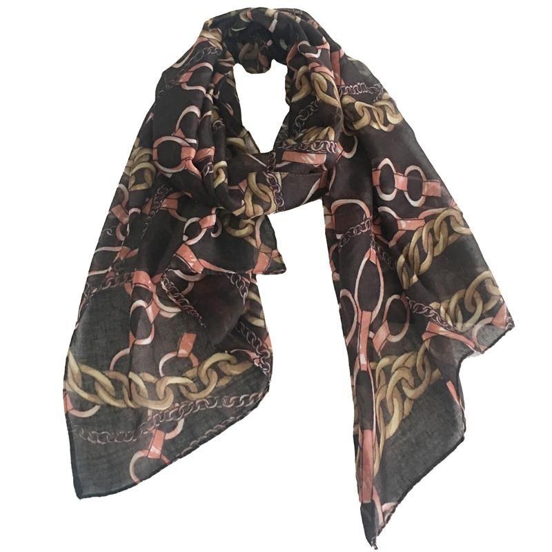 Fashion Lightweight Women Bufanda Sheer Dark Brown Cadena Impresión a rayas de rayas Regalos de poliéster Lady Sheer Pequeñas bufandas 180 * 50cm