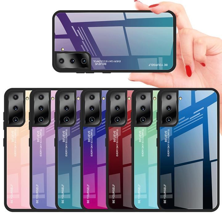 Закаленные стекла жесткие чехлы для Samsung Galaxy S21 Plus 5G Ультра Bling Gradient Gradient Groub Grounge Hybrid TPU Будьте самим собой сотовый телефон