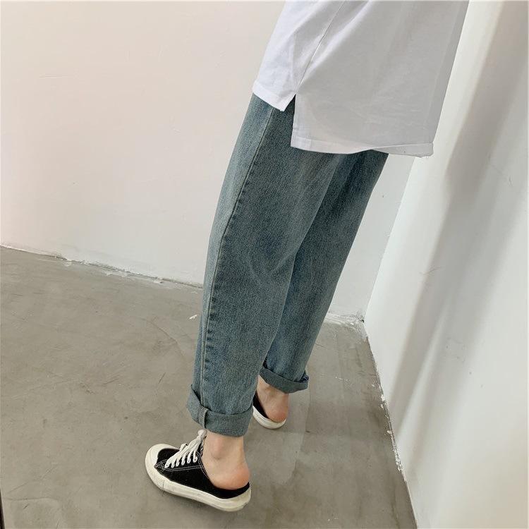 De cintura alta y grande de mezclilla lavada amplia resorte de brazos / verano ruffian pantalones de tubo recto para las mujeres