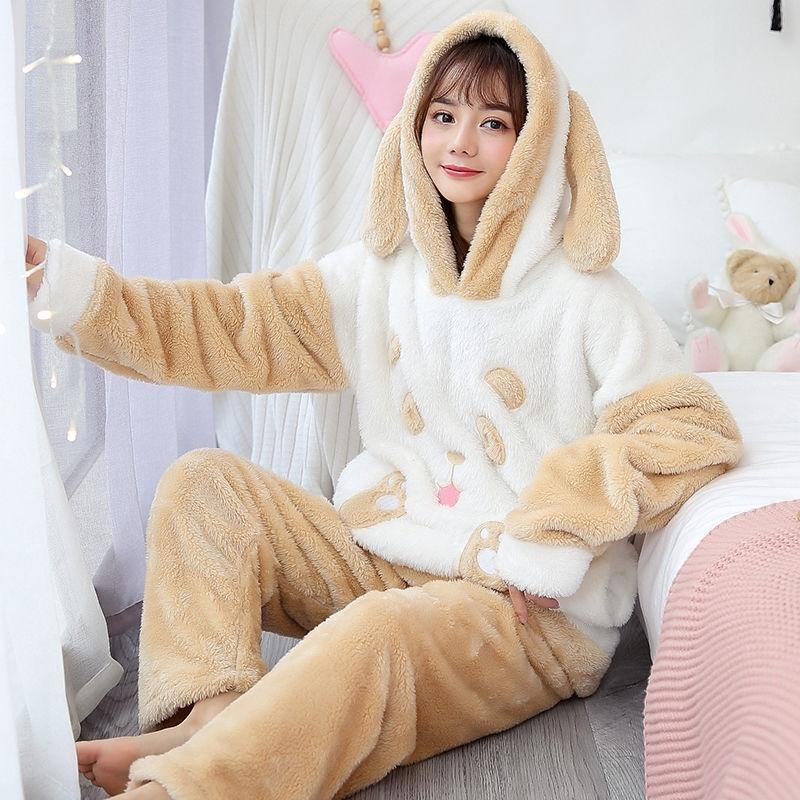 2 шт. / Лот зимние пижамы наборы женщин теплые фланелевые длинные рукава коралл Pijama розовая толстая толстая домашняя одежда пижамная пижама