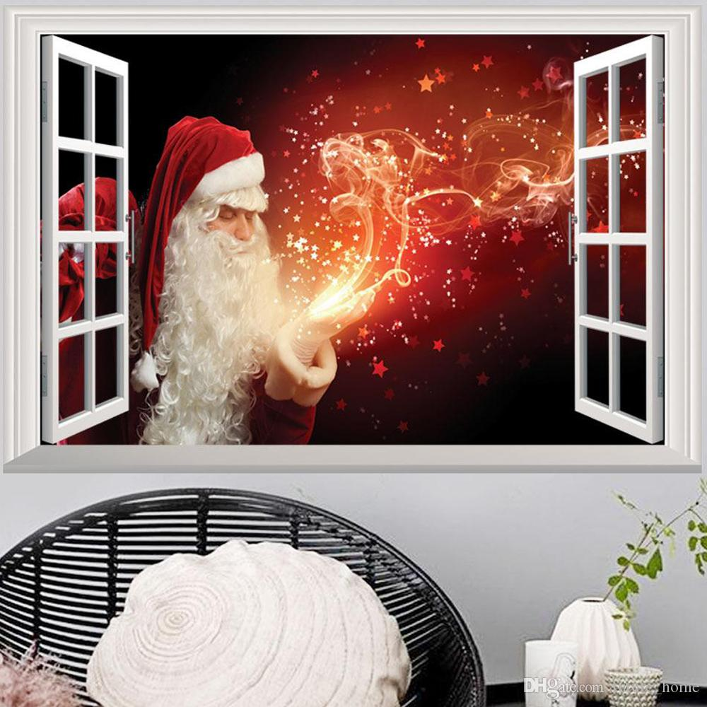 3D False Window Santa Claus Wall Decal Room Bedroom Merry Christmas Decorations Sticker Mural Hot Poster Home Decor 10Styles