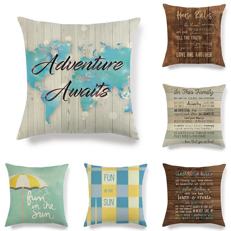 45 cm * 45 cm Alphabet aus Holz Hintergrund Design Wäsche / Baumwolle Wurfkissenbezüge Couch Kissenbezug Home Dekorative Kissenbezüge1