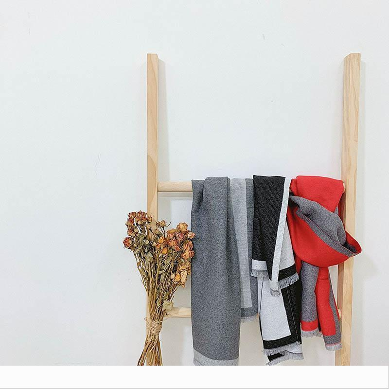 Lüks-Tasarımcı Sonbahar Kış Katı Renk Cashmere Çocuk Eşarp Renk Eşleştirme Püsküller Rahat Boys Kızlar Isınma çift taraflı