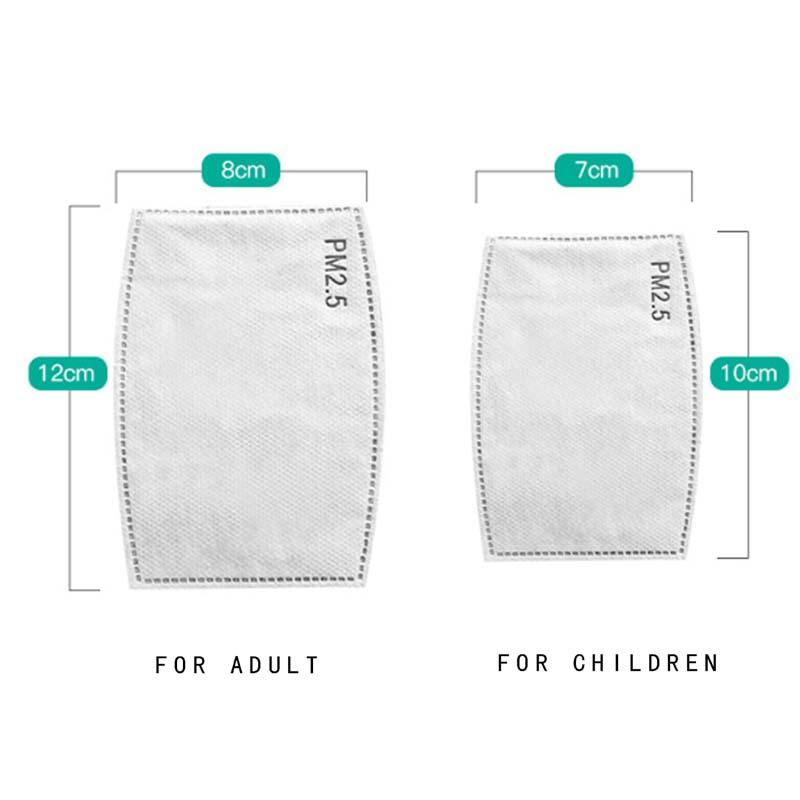 قابلة لإعادة الاستخدام 5 طبقة PM2.5 فلتر الكربون ل مصمم قناع الوجه مع مرشح جيب القطن القماش غطاء الفم الفم الكبار