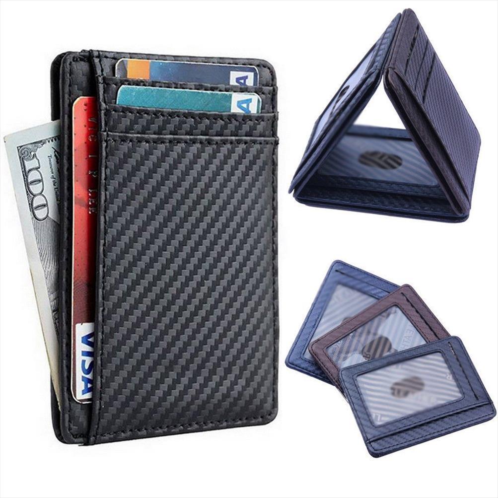 Cartão da carteira dos homens de fibra de carbono novo Slim Leather Titular Preto Azul Castanho alta qualidade Designer dinheiro Telefone Saco da moeda