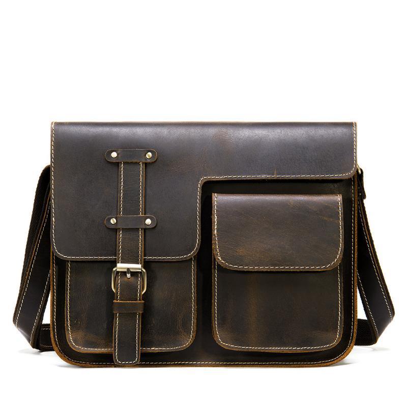 Портфель мужские сумки ретро мешок мешок мешок кожаная сумка для контрастного креста цветное плечо ноутбук хранения мужчин Asubs