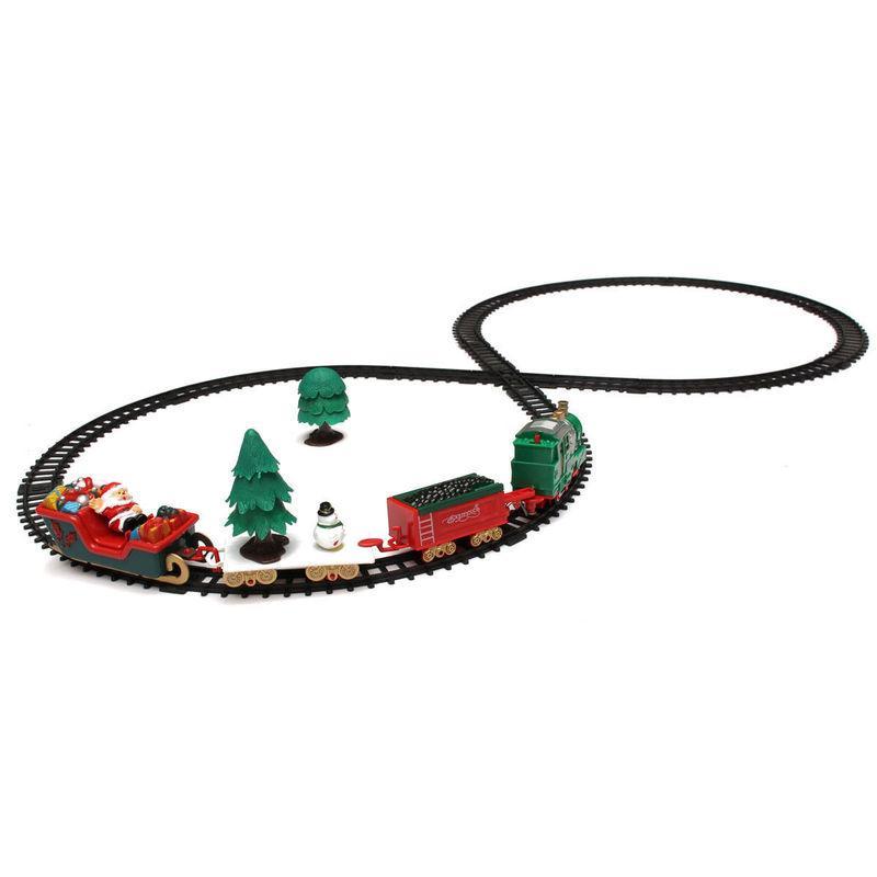 Navidad Juego de tren de pista de música de sonido luces alrededor de la decoración del árbol de Santa eléctrico de la música pista del tren Decoración xams Gif