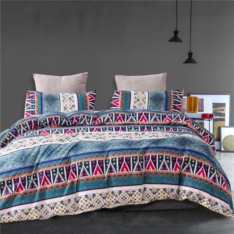Ensembles de literie 2-3pcs Couverture de couette + taies d'oreiller Set géométrique couverture de couette imprimée unique reine roi pour Allemagne Nation colorée Home textile
