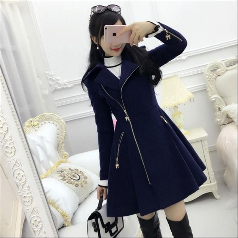 Autunno inverno donne cappotti blu scuro blu abbigliamento con cerniera cappotto di lana a metà lunghezza sottile 201215