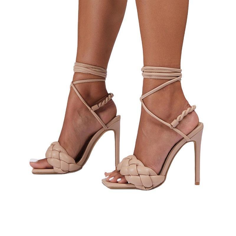 Sandali 2021 donne tacchi a talloni sexy stripper high weave quadrato toe femmina sottile grande taglia 41 42