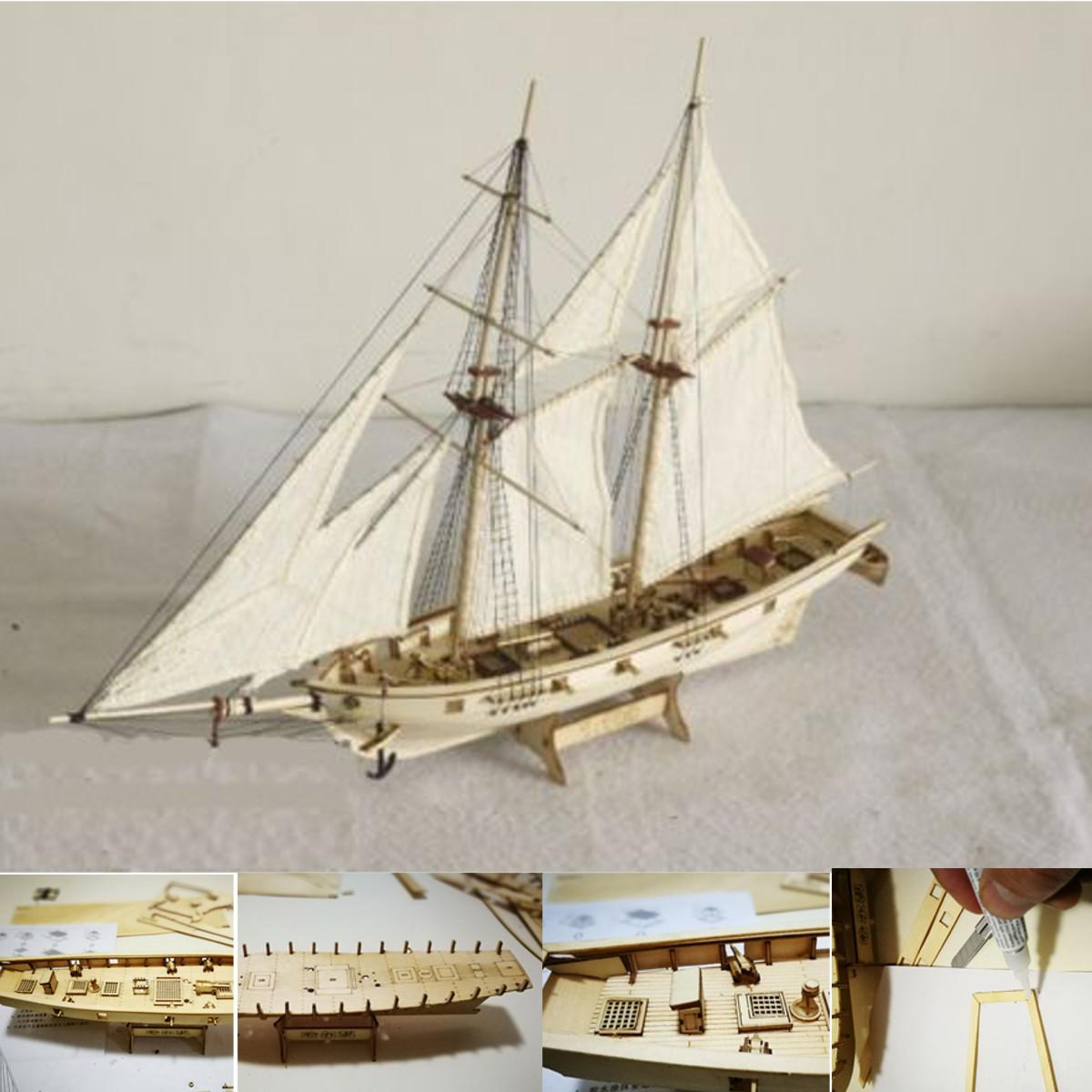 DIY Echelle 1: 100 Miniatura Petit immeuble Bateau à voile en bois Kits Ship Accueil Modèle Décoration Bateau Puzzle Jouets cadeau pour les enfants