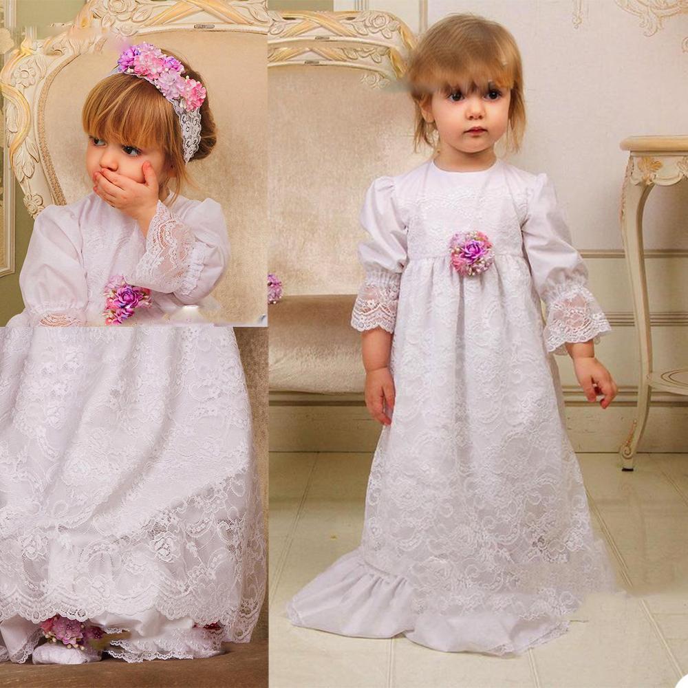 2020 belle ragazze di fiore abiti merletto lungo del manicotto di lunghezza del pavimento Bambini Abiti formali su ordine di compleanno del bambino primo abito Comunicazione