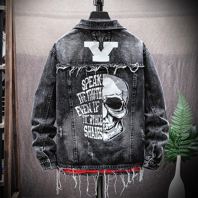 Spring Autumn new Ripped hole denim jacket male fashion personality brand printed outerwear men spring autumn Skull jacket 201013