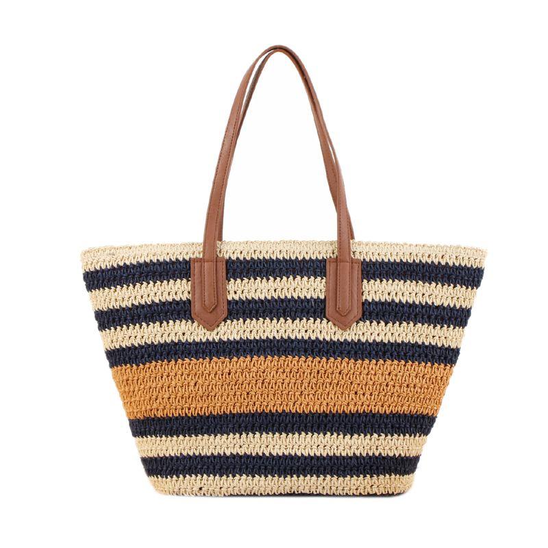 Listradas bolsas Mulheres Verão Palha Casual Woven Bolsas de praia para Estilo Lady Bohemian Tote Ombro Grande Feminino