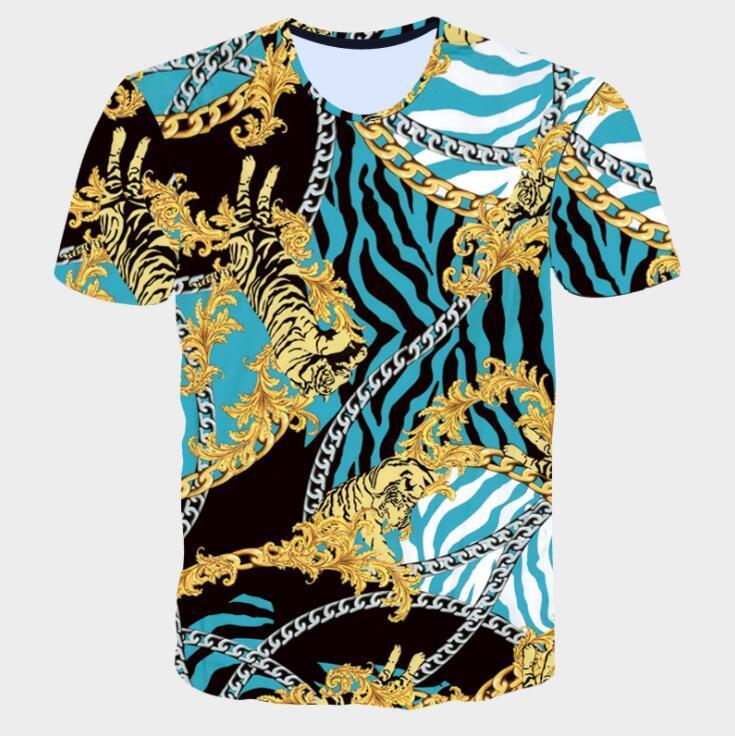 Flor de Oro marca de moda Hombres camiseta de verano Imprimir camiseta azul de manga corta de Homme Real barrocos ropa de los hombres tes de las tapas