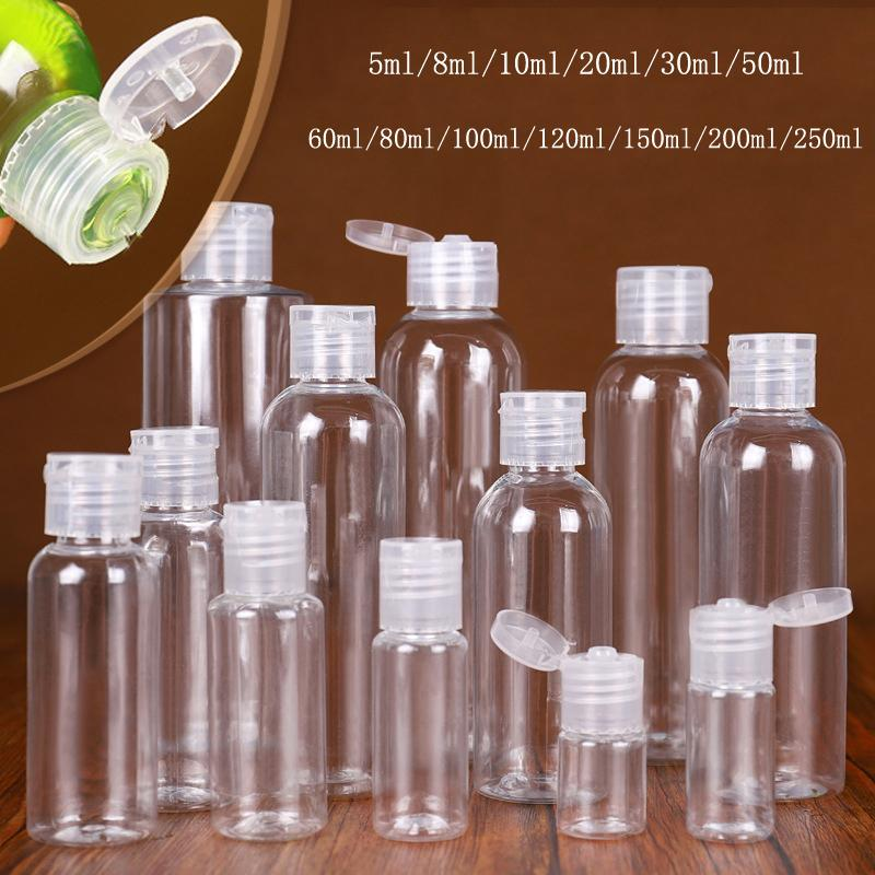 Bottiglia di sanificazione della mano di plastica 5ml 10ml 20ml 30ml 50ml 60ml 100ml 120ml 150ml 200ml Bottiglie di plastica trasparente in plastica trasparente per liquido
