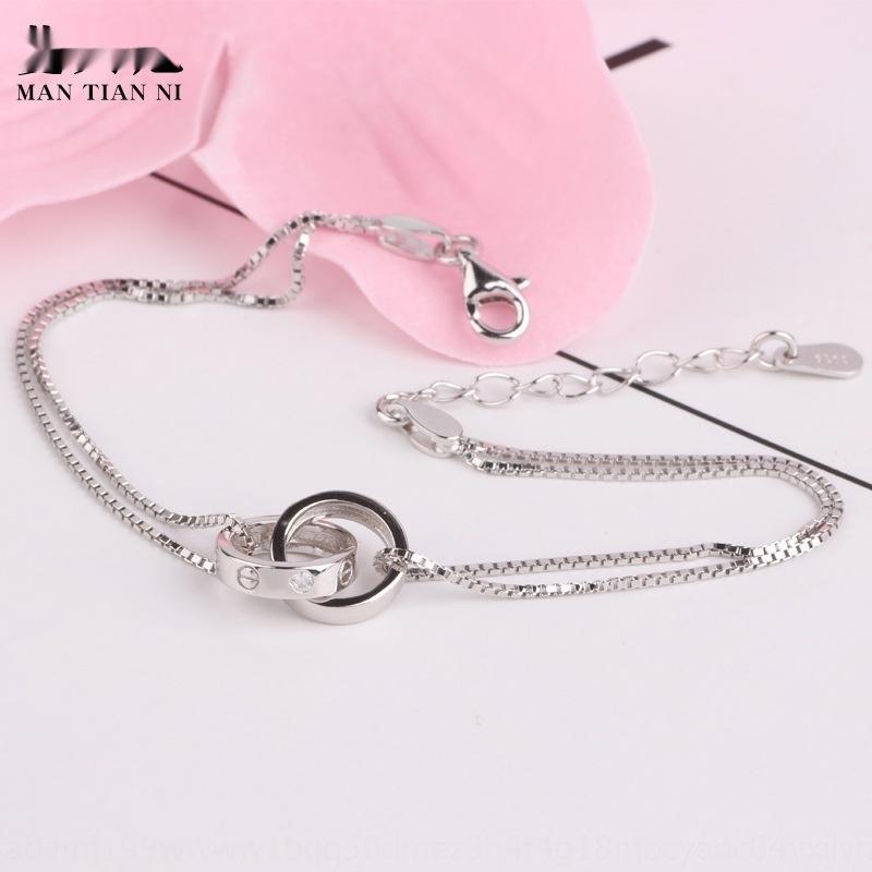 semplice moda braceletwomen nqt8z nuovo anello S925 Sterling Nuovo coreano temperamentversatile Bracciale accessoriesaccessoriessilver gioielli dou