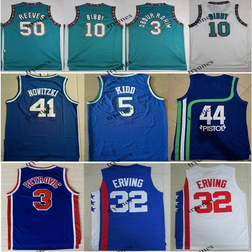 Vintage 44 Pistola Pete Maravich 3 Abdur Rahim 10 Mike Bibby 50 Reeves Julius Erving 3 Drazen Petrovic Jason Kidd College Basketball Jersey