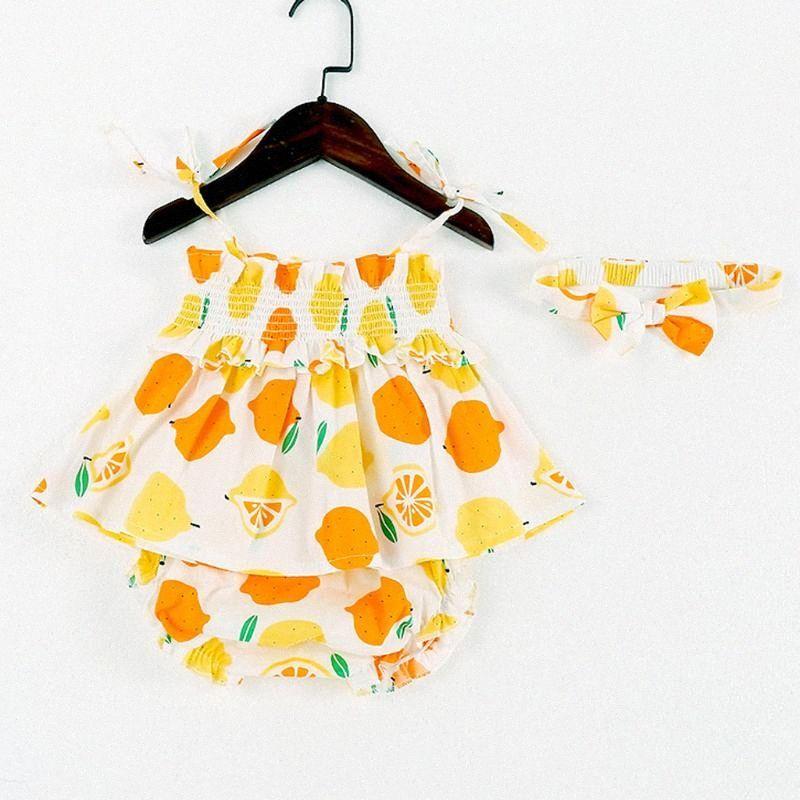 Niño recién nacido de la correa de los bebés del limón Imprimir camisetas Pantalones PP Cinta de cabeza Trajes cabritos de los sistemas ropa de niña sistemas del bebé de los niños del vestido y7kA #