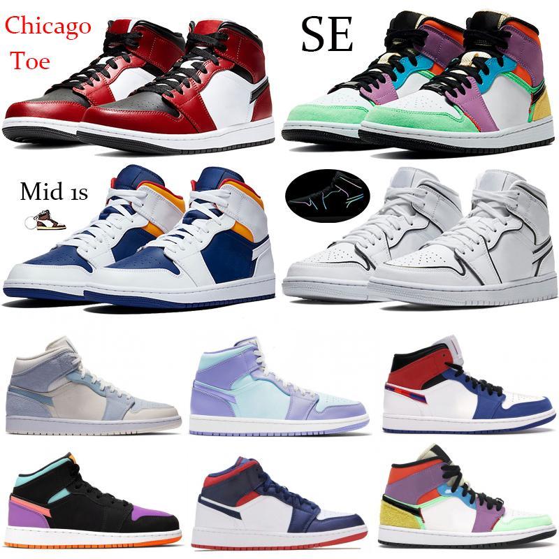 Metà Chicago Toe Jumpman 1 1s Basket scarpe Royal Blue Laser Arancione SE Multi-Color Triple bianco riflettente palestra rosso scarpe da corsa sneaerks
