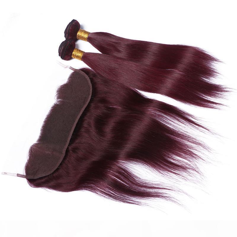 Perulu Şarap Kırmızı İnsan Saç 2Bundles Wefts ile Frontal Düz # 99J Bordo Dantel Frontal Kapatma 13x4 ile Bakire Saç Örgüleri