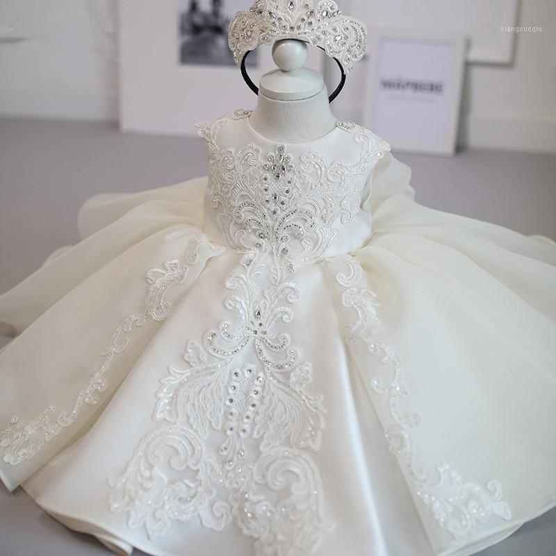 2021 Vestido de ceremonia de verano de verano Girl Beading 1er vestido de cumpleaños para niña elegante princesa vestidos fiesta bautista1