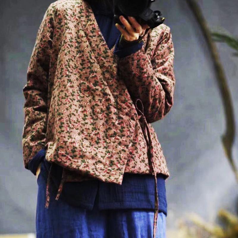 Johnature 2020, ceinture de lin chaud et de la mode de printemps d'impression, nouveau manteau épais confortable, col en coton en forme de V-