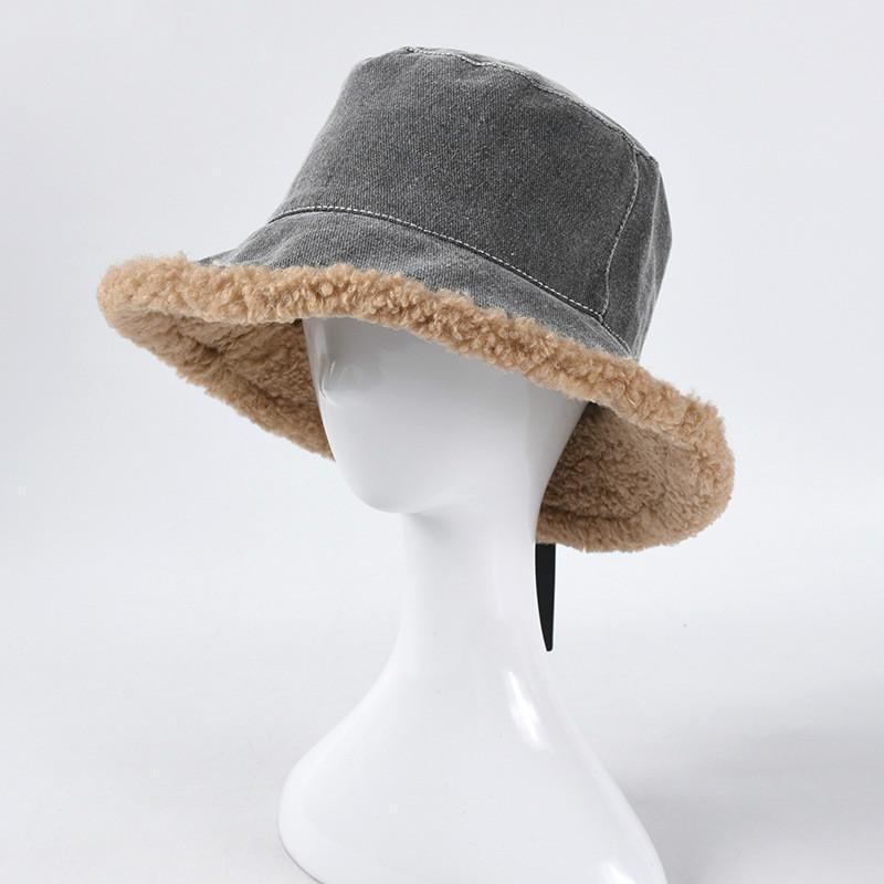2020 Winter Faux Leder Eimer Hut Frauen Cowboy Warme Samt Solide Eimer Hüte Unisex Mode Doppelseitige Panama Fisherman Caps