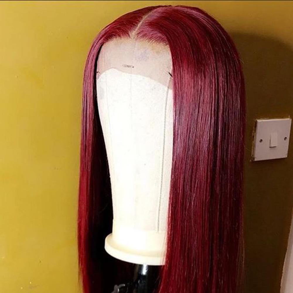 بورجوندي الدانتيل الجبهة الباروكة الملونة الأحمر شعر الإنسان الباروكات 1B99J 13x4 ريمي الباروكات للنساء السود 150 الكثافة preplucked شعري
